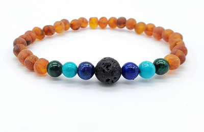 Baltic Amber Aromatherapy Bracelet for Adults Jewelry R.B. Amber Jewelry Raw Cognac Turquoise Ombre Lava