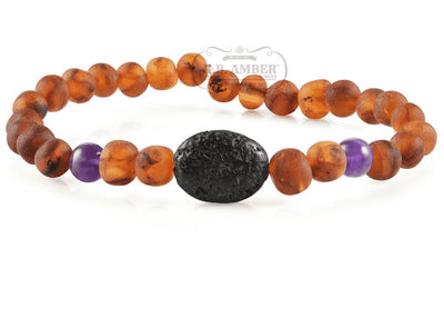 Baltic Amber Aromatherapy Bracelet for Adults Jewelry R.B. Amber Jewelry Raw Cognac/Amethyst Lava Pendant