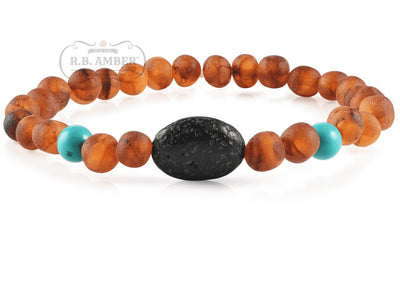 Baltic Amber Aromatherapy Bracelet for Adults Jewelry R.B. Amber Jewelry Raw Cognac/Turquoise Lava Pendant