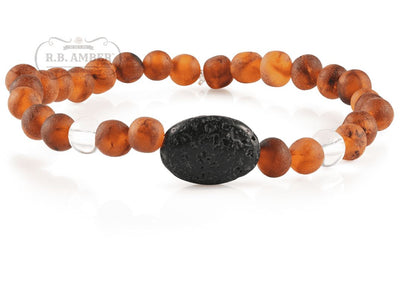 Baltic Amber Aromatherapy Bracelet for Adults Jewelry R.B. Amber Jewelry Raw Cognac/White Quartz Lava Pendant