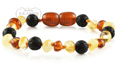 Baltic Amber Aromatherapy Children's Bracelet Teething Jewelry R.B. Amber Jewelry Multi Lava