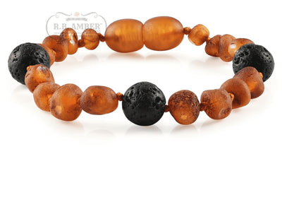 Baltic Amber Aromatherapy Children's Bracelet Teething Jewelry R.B. Amber Jewelry Raw Cognac Lava