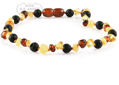 Baltic Amber Aromatherapy Necklace for Children Teething Jewelry R.B. Amber Jewelry 10-11 inches Multi Lava