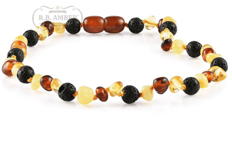 Image of Baltic Amber Aromatherapy Necklace for Children Teething Jewelry R.B. Amber Jewelry 10-11 inches Multi Lava