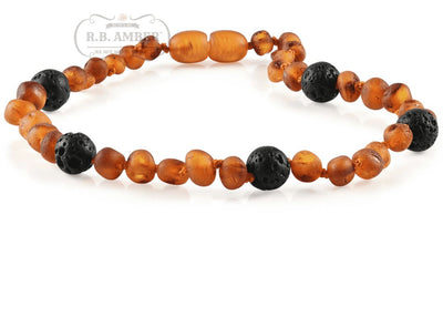 Baltic Amber Aromatherapy Necklace for Children Teething Jewelry R.B. Amber Jewelry 10-11 inches Raw Cognac Lava