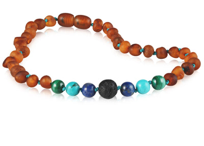 Baltic Amber Aromatherapy Necklace for Children Teething Jewelry R.B. Amber Jewelry 10-11 inches Raw Cognac Turquoise Ombre