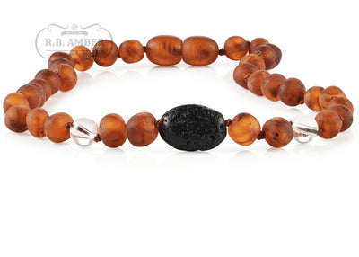 Baltic Amber Aromatherapy Necklace for Children Teething Jewelry R.B. Amber Jewelry 10-11 inches Raw Cognac/White Quartz Lava Pendant