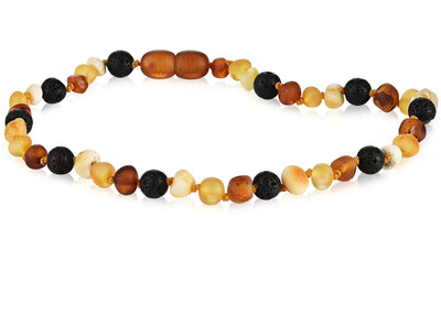 Baltic Amber Aromatherapy Necklace for Children Teething Jewelry R.B. Amber Jewelry 10-11 inches Raw Multi Lava