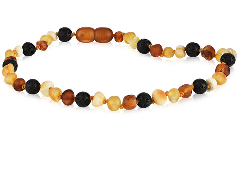 Image of Baltic Amber Aromatherapy Necklace for Children Teething Jewelry R.B. Amber Jewelry 10-11 inches Raw Multi Lava