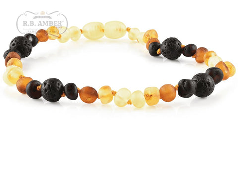 Baltic Amber Aromatherapy Necklace for Children Teething Jewelry R.B. Amber Jewelry 10-11 inches Raw Rainbow Lava