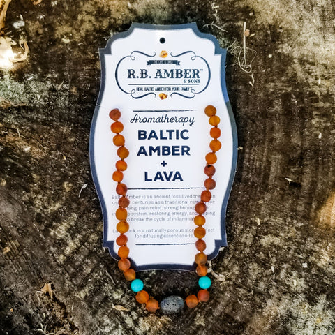 Baltic Amber Aromatherapy Necklace for Children Teething Jewelry R.B. Amber Jewelry