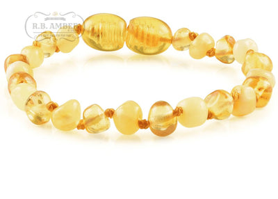 Baltic Amber Children's Bracelet/Anklet Teething Jewelry R.B. Amber Jewelry Butter Lemon