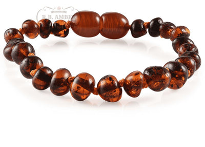 Baltic Amber Children's Bracelet/Anklet Teething Jewelry R.B. Amber Jewelry Dark Cognac