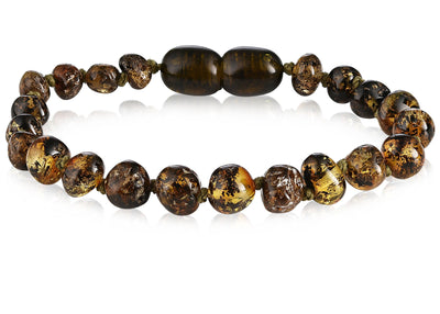 Baltic Amber Children's Bracelet/Anklet Teething Jewelry R.B. Amber Jewelry Dark Green