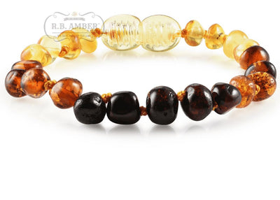 Baltic Amber Children's Bracelet/Anklet Teething Jewelry R.B. Amber Jewelry Rainbow