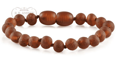 Baltic Amber Children's Bracelet/Anklet Teething Jewelry R.B. Amber Jewelry Raw Cognac