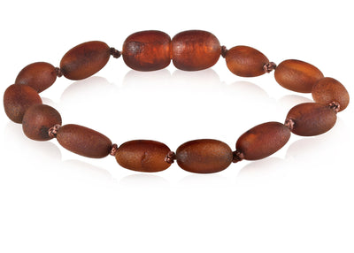 Baltic Amber Children's Bracelet/Anklet Teething Jewelry R.B. Amber Jewelry Raw Cognac Bean