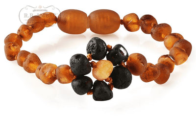 Baltic Amber Children's Bracelet/Anklet Teething Jewelry R.B. Amber Jewelry Raw Cognac Flower