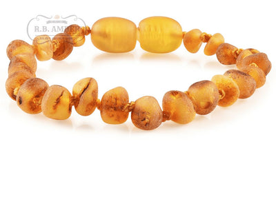 Baltic Amber Children's Bracelet/Anklet Teething Jewelry R.B. Amber Jewelry Raw Honey