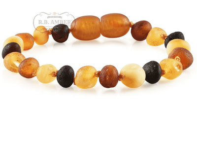 Baltic Amber Children's Bracelet/Anklet Teething Jewelry R.B. Amber Jewelry Raw Multi