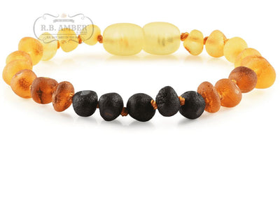 Baltic Amber Children's Bracelet/Anklet Teething Jewelry R.B. Amber Jewelry Raw Rainbow