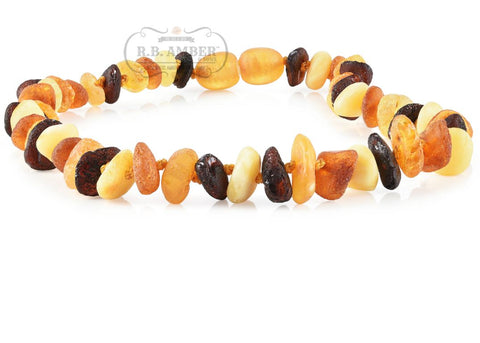 Image of Baltic Amber Necklace for Children - CLEARANCE - Screw Clasp Teething Jewelry R.B. Amber Jewelry 10-11 inches Raw Multi Chip