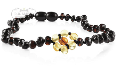 Baltic Amber Necklace for Children - CLEARANCE - Screw Clasp Teething Jewelry R.B. Amber Jewelry 12-13 inches Cherry Flower