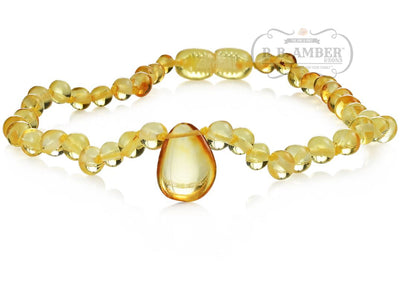 Baltic Amber Necklace for Children - CLEARANCE - Screw Clasp Teething Jewelry R.B. Amber Jewelry 12-13 inches Lemon Pendant