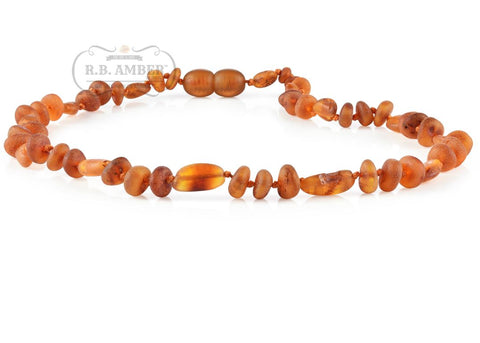 Image of Baltic Amber Necklace for Children - CLEARANCE - Screw Clasp Teething Jewelry R.B. Amber Jewelry 12-13 inches Raw Cognac Mix