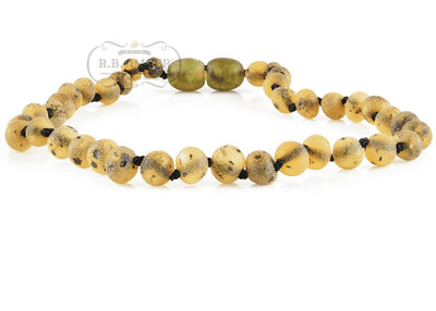 Baltic Amber Necklace for Children - CLEARANCE - Screw Clasp Teething Jewelry R.B. Amber Jewelry 12-13 inches Raw Green
