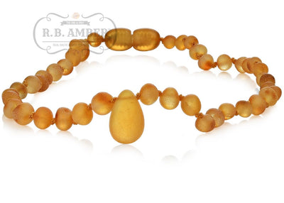 Baltic Amber Necklace for Children - CLEARANCE - Screw Clasp Teething Jewelry R.B. Amber Jewelry 12-13 inches Raw Honey Pendant