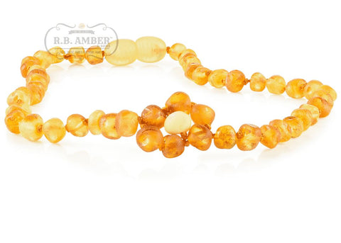 Image of Baltic Amber Necklace for Children - CLEARANCE - Screw Clasp Teething Jewelry R.B. Amber Jewelry 12-13 inches Raw Lemon Flower