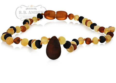 Image of Baltic Amber Necklace for Children - CLEARANCE - Screw Clasp Teething Jewelry R.B. Amber Jewelry 12-13 inches Raw Multi Pendant