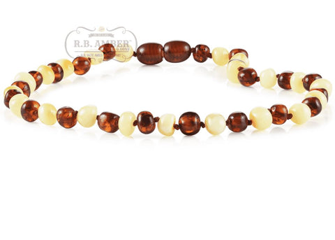 Image of Baltic Amber Necklace for Children - CLEARANCE - Screw Clasp Teething Jewelry R.B. Amber Jewelry 14-15 inches Cognac/Butter