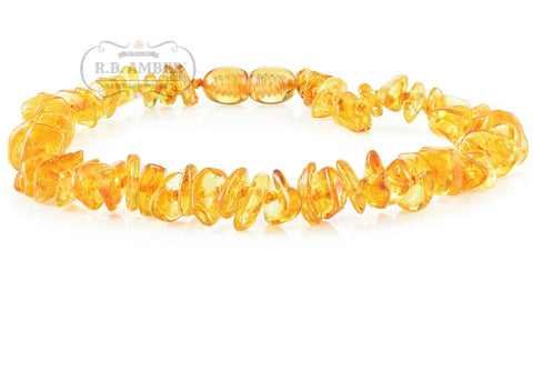 Baltic Amber Necklace for Children - CLEARANCE - Screw Clasp Teething Jewelry R.B. Amber Jewelry 14-15 inches Honey Chip