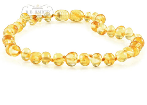 Image of Baltic Amber Necklace for Children - CLEARANCE - Screw Clasp Teething Jewelry R.B. Amber Jewelry 14-15 inches Lemon