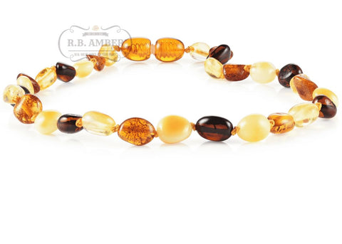 Image of Baltic Amber Necklace for Children - CLEARANCE - Screw Clasp Teething Jewelry R.B. Amber Jewelry 14-15 inches Multi Bean