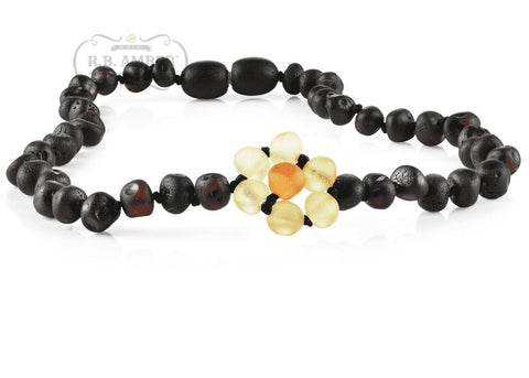 Baltic Amber Necklace for Children - CLEARANCE - Screw Clasp Teething Jewelry R.B. Amber Jewelry 14-15 inches Raw Cherry Flower