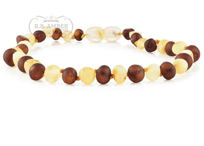 Baltic Amber Necklace for Children - CLEARANCE - Screw Clasp Teething Jewelry R.B. Amber Jewelry 14-15 inches Raw Cognac/Lemon