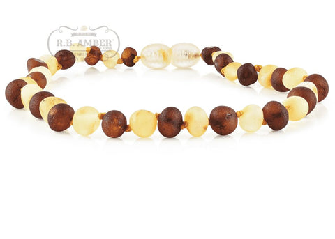Image of Baltic Amber Necklace for Children - CLEARANCE - Screw Clasp Teething Jewelry R.B. Amber Jewelry 14-15 inches Raw Cognac/Lemon