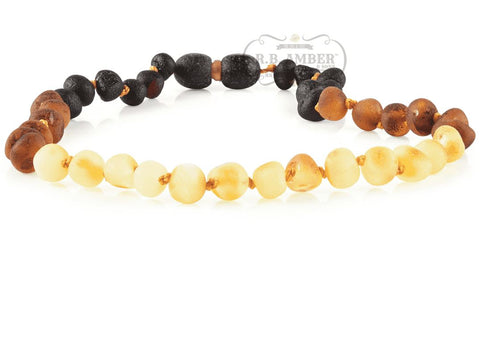 Image of Baltic Amber Necklace for Children - CLEARANCE - Screw Clasp Teething Jewelry R.B. Amber Jewelry 14-15 inches Raw Reverse Rainbow