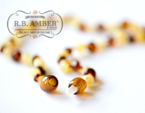 Baltic Amber Necklace for Children - CLEARANCE - Screw Clasp Teething Jewelry R.B. Amber Jewelry