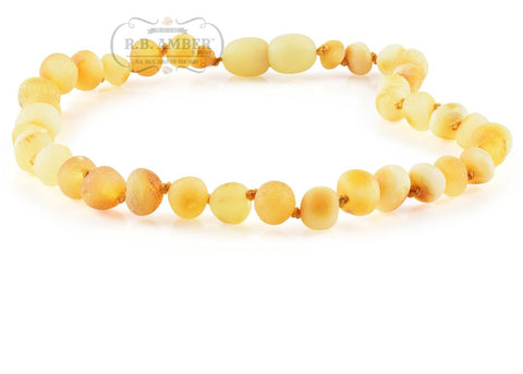 Baltic Amber Necklace for Children - CLEARANCE Teething Jewelry R.B. Amber Jewelry 14-15 inches Raw Butter - POP CLASP