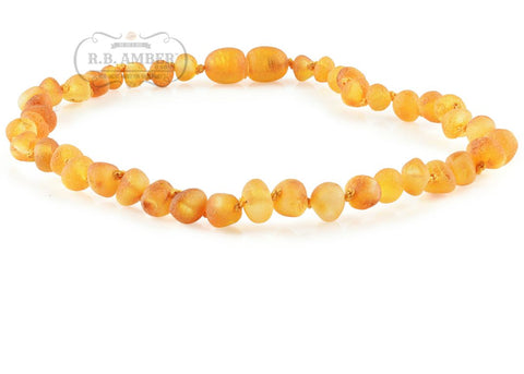 Baltic Amber Necklace for Children - CLEARANCE Teething Jewelry R.B. Amber Jewelry 14-15 inches Raw Honey - POP CLASP