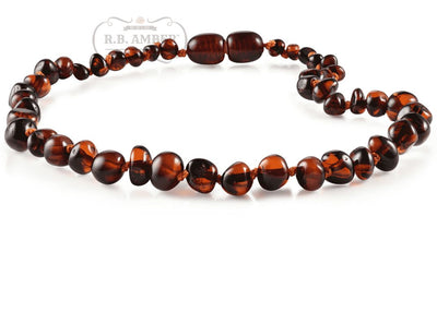 Baltic Amber Necklace for Children - Pop Clasp Teething Jewelry R.B. Amber Jewelry 10-11 inches Dark Cognac