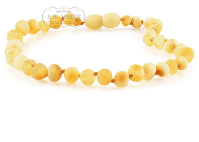 Baltic Amber Necklace for Children - Pop Clasp Teething Jewelry R.B. Amber Jewelry 10-11 inches Raw Butter