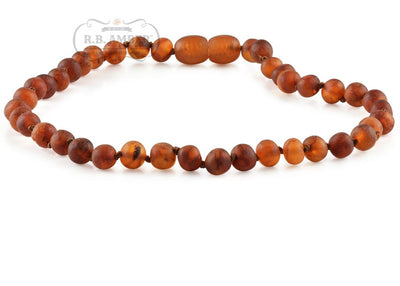 Baltic Amber Necklace for Children - Pop Clasp Teething Jewelry R.B. Amber Jewelry 10-11 inches Raw Cognac