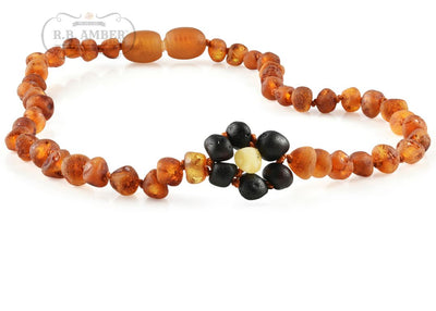 Baltic Amber Necklace for Children - Pop Clasp Teething Jewelry R.B. Amber Jewelry 10-11 inches Raw Cognac Flower