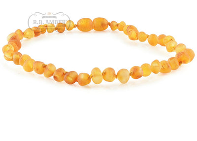 Baltic Amber Necklace for Children - Pop Clasp Teething Jewelry R.B. Amber Jewelry 10-11 inches Raw Honey