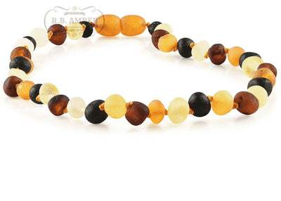 Baltic Amber Necklace for Children - Pop Clasp Teething Jewelry R.B. Amber Jewelry 10-11 inches Raw Multi